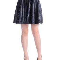 Anna-Kaci S/M Fit Black Faux Leather Detail Knife Pleat Waist Skater Style Skirt