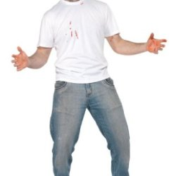 Smiffy'S Men'S Stabbed In The Back T-Shirt With Attached Latex Knife, White, Medium