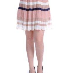 Anna-Kaci S/M Fit Multicoloured Accordion Knife Pleats Color Block Stripes Skirt