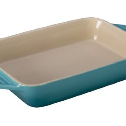 Le Creuset Stoneware Rectangular Dish, 12.5 By 8.25-Inch, Caribbean