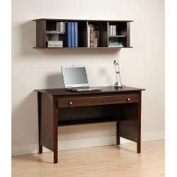 Picture of Comfortable Contemporary Computer Desk and Wall Mounted Desk Hutch Combination in Espresso EWD4730K (B00478RZUE) (Computer Desks)