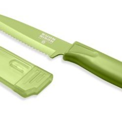 Kuhn Rikon 4-Inch Nonstick Colori Serrated Paring Knife, Green