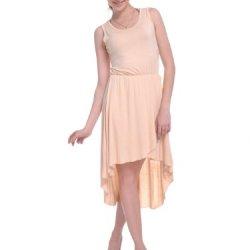 Anna-Kaci S/M Fit Beige Very Slinky And Twirl Knife Pleat High Low Hem Dress
