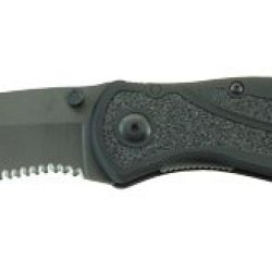 Kershaw Blur Folding Knife/Assisted 14C28N/Stone Washed Combo Drop Point Thumb Stud/Pocket Clip 3.375 Black Anodized Aluminum 6061-T6 Box 1670Blkst
