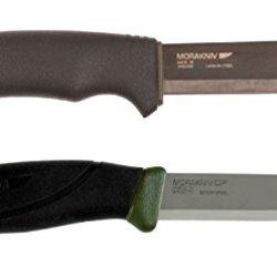 Bundle - 2 Items: Morakniv Bushcraft Black Carbon Steel Knife (Non-Serrated) And Morakniv Companion Mg Fixed Blade Carbon Steel Knife