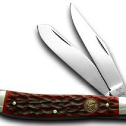Hen & Rooster And Red Pick Bone Trapper Pocket Knife Knives