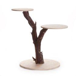 Dress My Cupcake Dmc97150 2-Tier Manzanita Wood Cake Stand, Natural Dark Brown