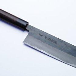 Yoshihiro Mizu Yaki Blue Steel Kurouchi Nakiri Vegetable Chef Knife 6.5In Shitan Handle