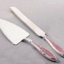 Pink Glitter Cake Knife & Server Set