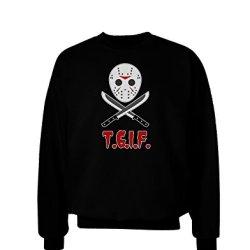 Scary Mask With Machete - Tgif Adult Dark Sweatshirt - Black - Small