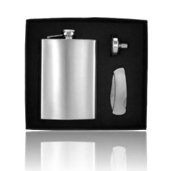 Personlize Set 8Oz Stainless Steel Flask, And Pocket Knife Groomsman Free Engraving Gift