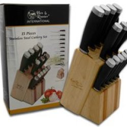 Hen & Rooster And International 15 Piece Black Rubber Kitchen Knives Block Set