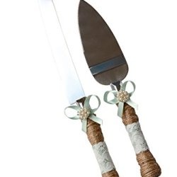 Rustic Country Wedding Burlap Twine Knife And Cake Server Set (Mint)