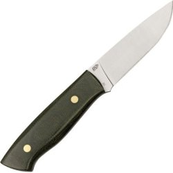Enzo Trapper 95 Fixed Blade Knife, 3.75In, Satin D2 Tool Steel Blade, Green Canvas Micarta 2015