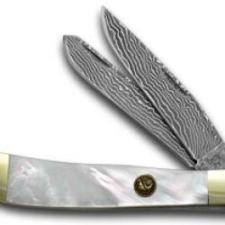 Hen & Rooster And Damascus Genuine Mother Of Pearl Trapper Pocket Knife Knives