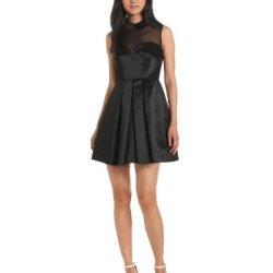 Jill Jill Stuart Women'S Illusion Neck Dress With Peter Pan Collar, Black, 10