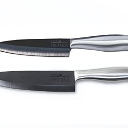 Casa Neuhaus Black Series Chef'S Set Ceramic Knives - 5 Inch Utility Knife & 7 Inch Chef'S Knife - Black Ceramic Blade & Stainless Steel Handle - Includes Knife Sheath And Black Series Gift Box