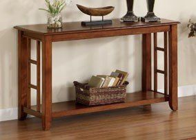 Image of Console Sofa Table Mission Style in Brown Oak Finish (VF_F6214)