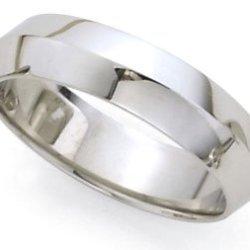 Plain Knife Edge Wedding Band In 18K White Gold (6Mm)