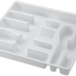 United Solutions Ba0010 White Plastic Cutlery Tray And Utensil Organizer-Organizes Your Silverware Drawer