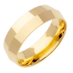 14K Gold Traditional Knife Edge Men'S Wedding Band (7Mm) Size-10.5