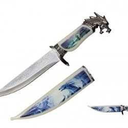 "13.5"" Collector'S Wildlife Collection Hunting Bowie Knife The Mystical Magical Fire Dragon With Decorative Sheath & Handel"
