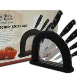 Hen & Rooster And 6 Piece Black Synthetic Kitchen Cutlery Knife Knives Set