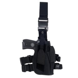 Armstac® Drop Leg Holster [S3] Tactical Pistol Holster With Quick Detach Buckle Clips, Adjustable Straps, Single Magazine Pouch, In Black Color + Armstac® Lifetime Warranty & Tech Support