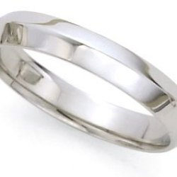 Comfort-Fit Knife Edge Wedding Band In 14K White Gold (4Mm)