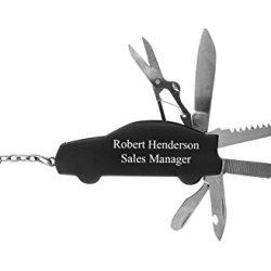 Personalized Car Shape Multi Tool Key Chain. Free Engraving. Black