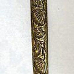 Antique Brass Desk Letter Envelope Opener With Flowers Vintage Knife Cutter