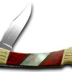 Buck 110 Painted Pony Red Jasper, Genuine Abalone Folding Hunter 1/50 Knife Knives