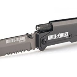 Brite Strike Bstlsk-100-Ce Brite-Blade Tactical Lighted Survival Knife With Combo Edge Serrated Blade, Gray