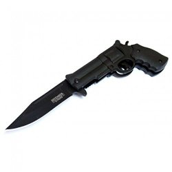 "New 8.5"" Metal Black Blade Gun Spring Assisted Knife With Belt Clip"