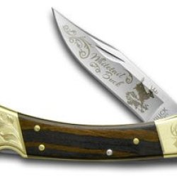 Buck 110 Wooden Whitetail Buck 1/500 Scrolled Bolster Folding Hunter Pocket Knife Knives