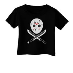 Scary Mask With Machete - Halloween Infant T-Shirt Dark Black - 06Months