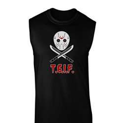Scary Mask With Machete - Tgif Dark Muscle Shirt - Black - Xl