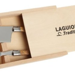Scip Laguiole Cheese Knife/Fork Set With Olive Wood Handles And Stainless Steel Bolster