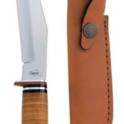 Case Cutlery 00386 381-6 Ss Hunter With Stainless Steel Fixed Blade And Leather Handle Leather