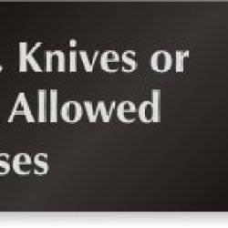 """No Guns, Knives Or Weapons Allowed On Premises (With Symbol) Sign, 9"""" X 3"""""""