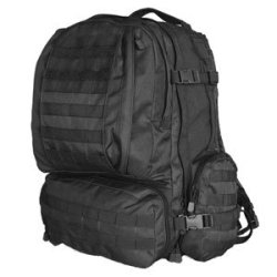 Combat Ready 1 Survival 72 Hour Bugout Bag With Fox Tactical Advanced 3-Day Combat Pack (Black) Ontario Knife Company Rat-7 Fixed Blade Knife With Black Cordura Nylon Sheath Mre Star Mres Sos Food Lab Emergency Water And 2400 Calorie Bars Ultimate Surviva