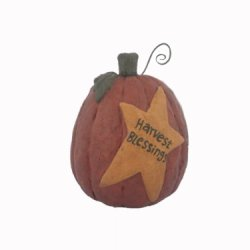 Craft Outlet Papier Mache Pumpkin With Harvest Blessing Figurine, 6.25-Inch