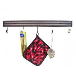 "24"" Black Magnetic Knife Rack With Hook"