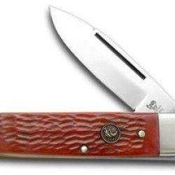 Hen & Rooster And Red Jigged Bone Gentleman'S Folder Pocket Knife Knives