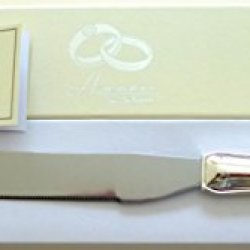 Personalised Silver Plated Cake Knife With 2 Interlocking Wedding Rings Free Engraving