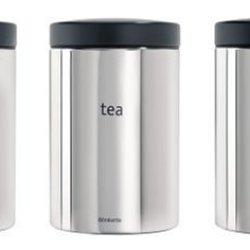 Brabantia Coffee / Tea / Sugar 1.4 Litre Canister Set- Brilliant Steel And Matt Black