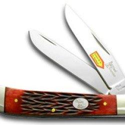 Steel Warrior Trapper - Red Walnut Jigged Bone Handles Pocket Knife Knives