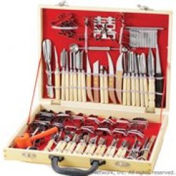 International Culinary Carving Set 80 Piece, Wood Case