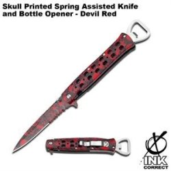 Skull Printed Spring Assisted Knife Bottle Opener - Devil Red