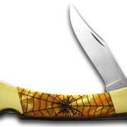 Buck 110 Custom Gold Corelon Black Widow Folding Hunter Pocket Knives